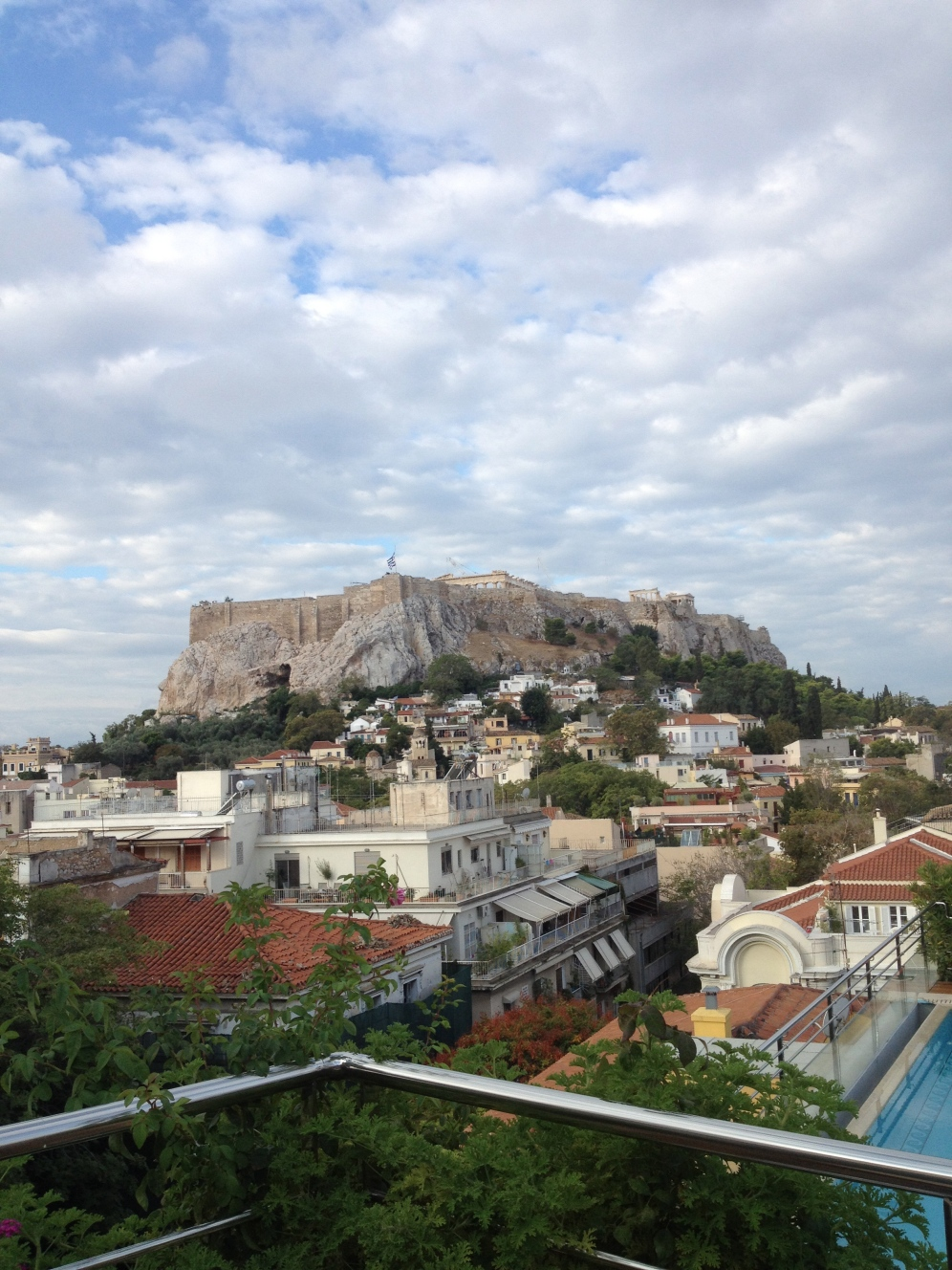 The view from the bar at The Electra Palace Hotel in Athens in the Plaka